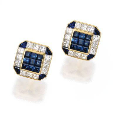 Pair of 18 Karat Gold, Sapphire and Diamond Cufflinks