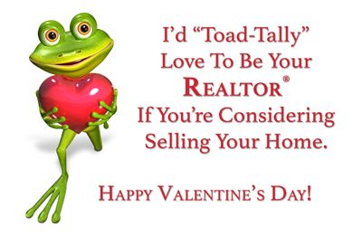 Real Estate Valentine's Day Postcards.  Free customization by a graphics designer, free set up, shipping and tax.  No additional fees apply.