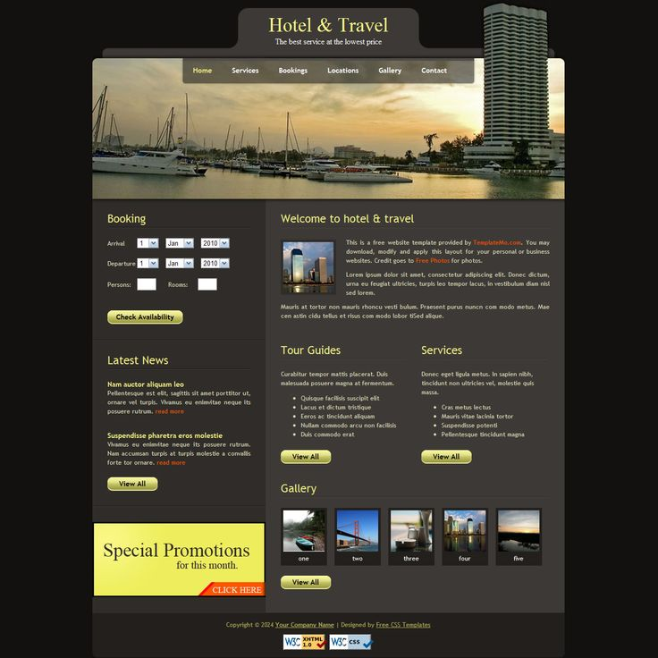 Hotel and Travel - Free website template in dark brown color, W3C validated XHTML CSS design layout