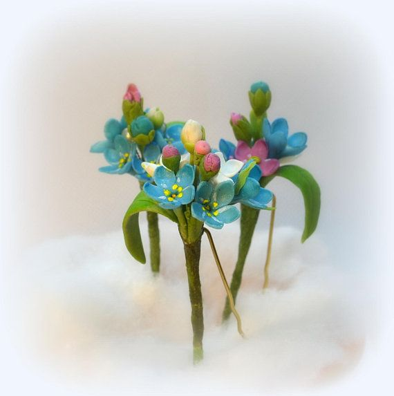 Hairpins forget-me-nots set 3 pieces Hairpin blue flower Wedding hairstyle hair clip for bride Blue forget-me-nots hair clip wedding hairpin