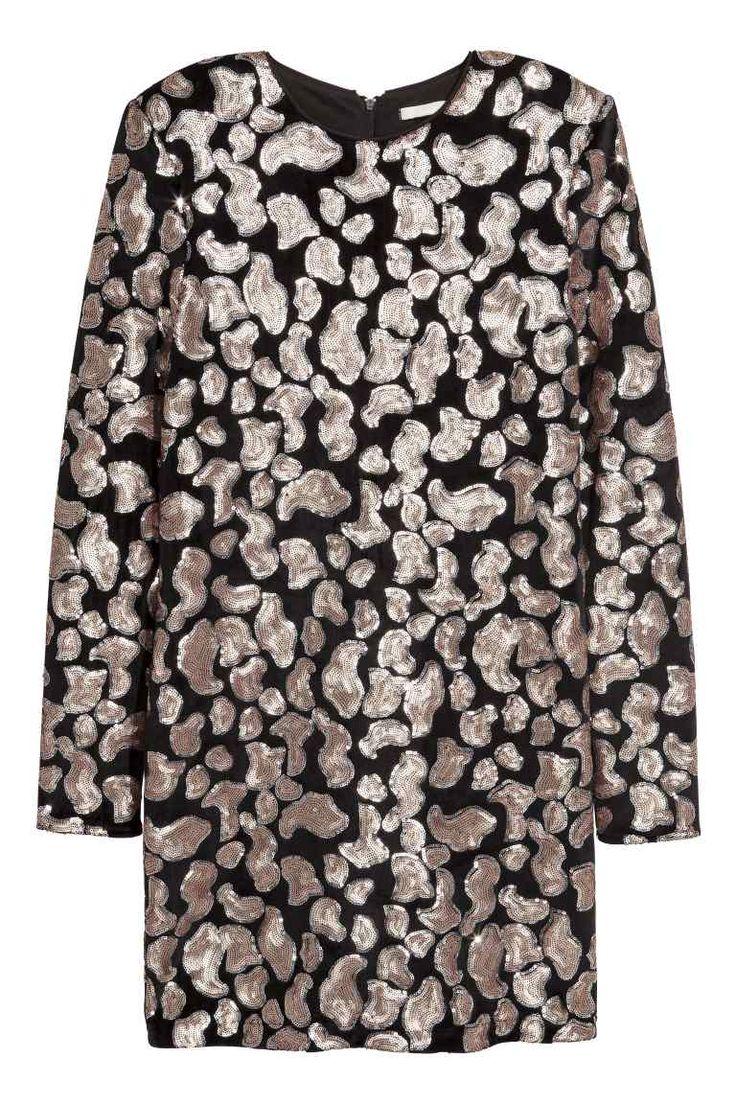 Velours jurk met pailletten - Zwart/pailletten - DAMES | H&M NL
