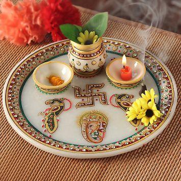 Pristine Marble Pooja Thali