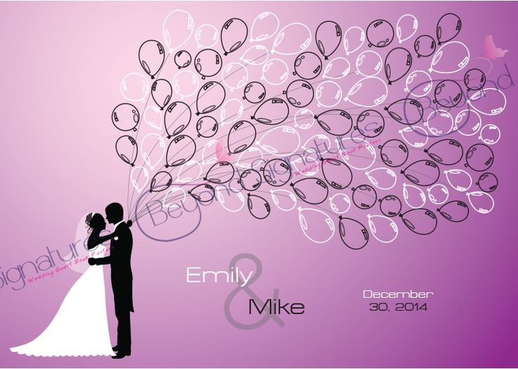 Balloon Silhouette Couple Wedding Guest Book Poster - Beyond Signatures www.beyondsignatures.com