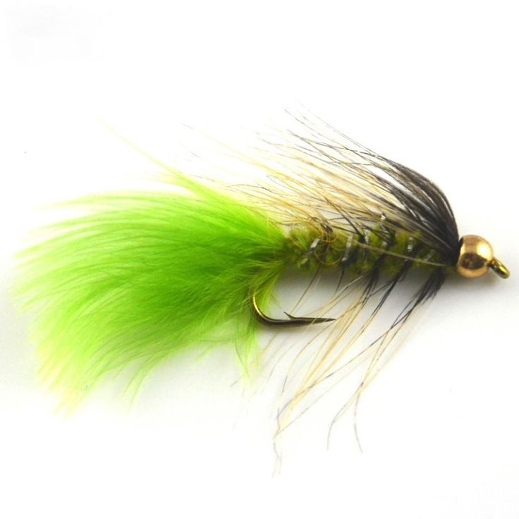 10# Barbed Hooks Gold head Trout Fishing Flies, Fishing Lures, Bead Head