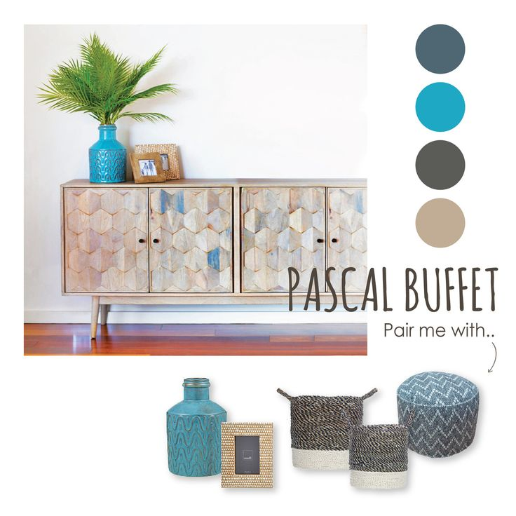 Its super cool wood inlays make the Pascal Buffet a standout centerpiece. Help it pop by pairing it with cool palette accessories!