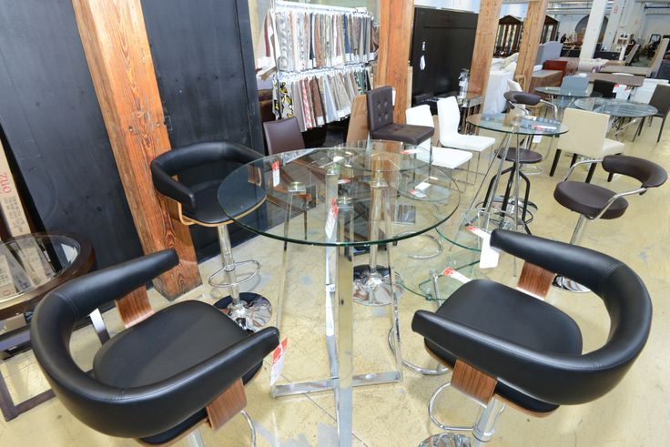 Round Glass Dining Table Set with Rounded Armrest Chairs - GH Johnson Furniture