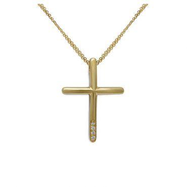 Μοντέρνος βαπτιστικός σταυρός με αλυσίδα για κορίτσι χρυσός Κ14 με ζιργκόν και γυαλιστερό φινίρισμα | Βαπτιστικοί σταυροί ΤΣΑΛΔΑΡΗΣ στο Χαλάνδρι #βαπτιστικός #σταυρός #βάπτισης #χρυσος #κοριτσι #ζιργκον