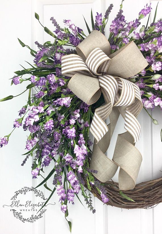 Lavender wreaths for front door, Everyday wreath, Purple door wreath, Farmhouse wreath, Spring wreath, All season wreath, Wispy Wreath A lovely lavender wreath that can be displayed all year long. This lavender wreath is made on a grapevine base and is filled with delicate