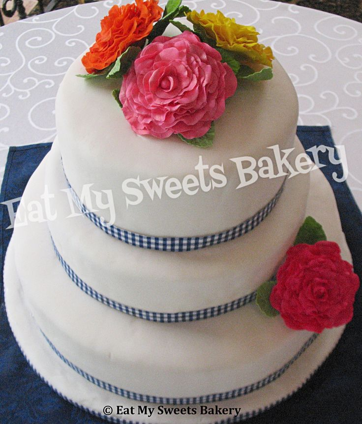 Cottage themed cake with gum paste roses