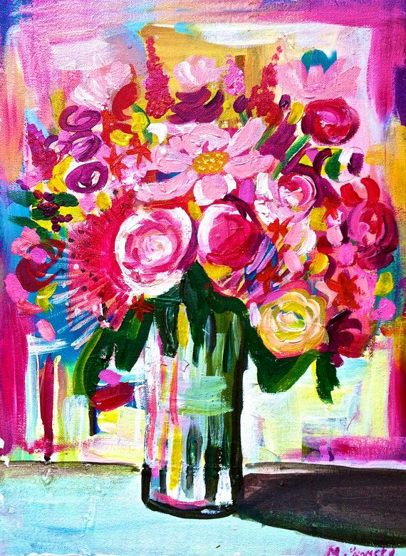 8X10 Painting Print- print from original acrylic painting. Bright Neon flower arrangement in vase. Hot pink, magenta flowers. Colorful