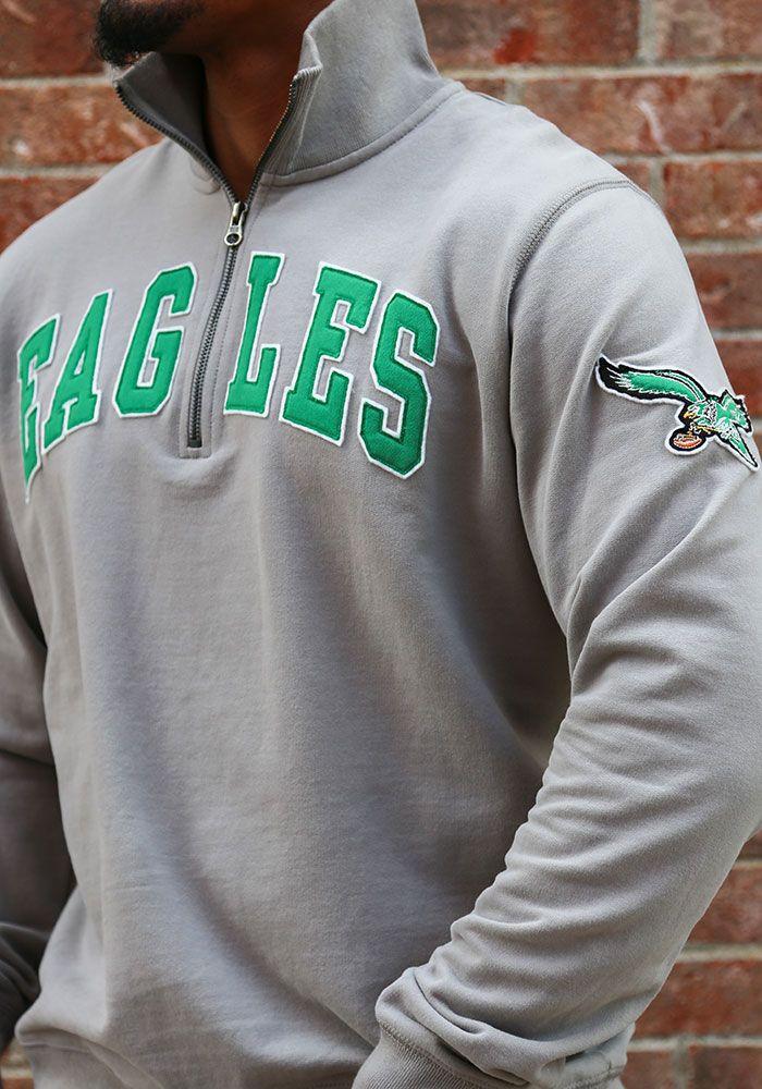 803fe05547f '47 Philadelphia Eagles Mens Grey Striker Long Sleeve 1/4 Zip Fashion  Pullover - Image 3. '