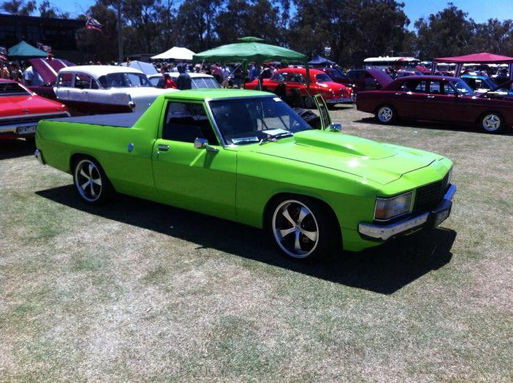 WB ute with Kawasaki green paint, 454 big block chev, TH350, 9 inch diff with mini spool custom interior.