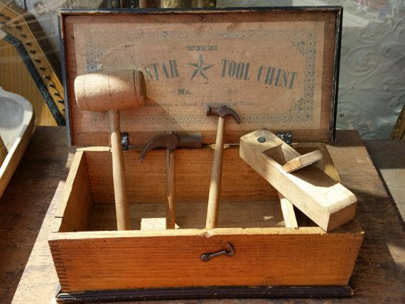 SALE - Primitive Antique Wooden Dovetailed Boysn Star Toy Tool Chest With Antique Tools from Rustysecrets