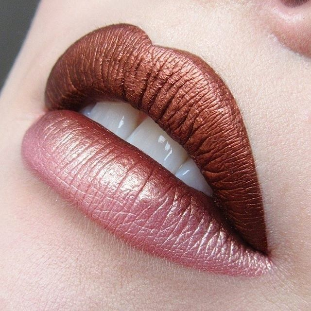 Two-toned metallic lip! Try out NYX Cosmetics Cosmic Metals Lip Cream to create your own color combo!