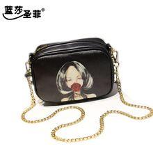 Recién llegado de la bandera de impresión Audrey Hepburn Marilyn Monroe crossbody bolsas de mensajero pequeñas del bolso negro 15638(China (Mainland))
