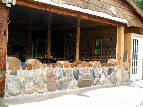 Cordwood and stone cordwood pinterest house for Cordwood house foundation