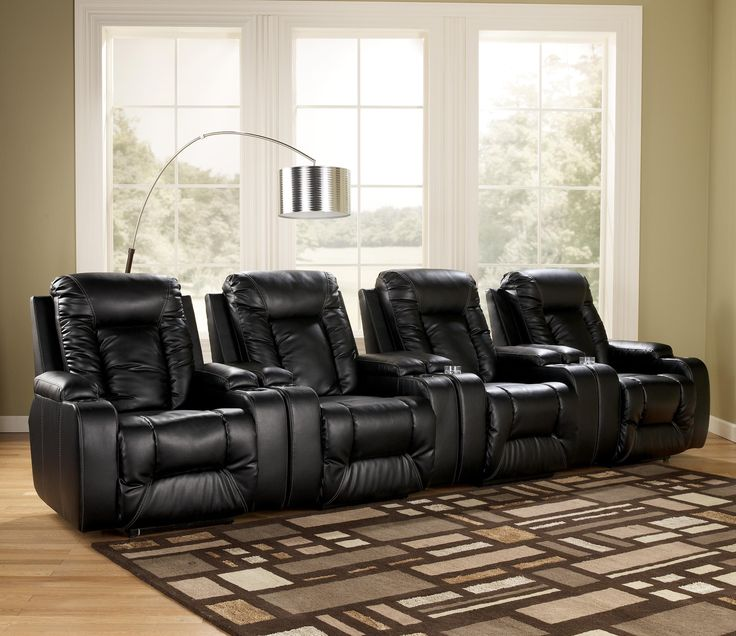Matinee Durablend Eclipse Contemporary 4 Piece Theater Seating Group With Power Recline By