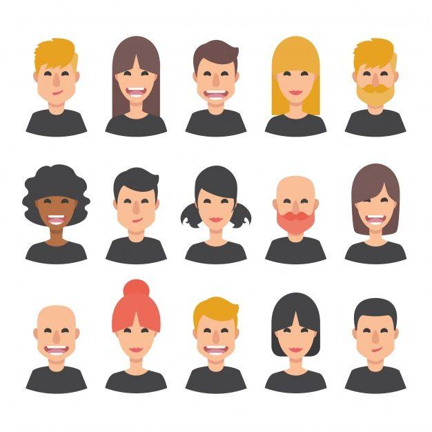 Colección de caras felices de personas Vector Gratis Por johndory / Freepik