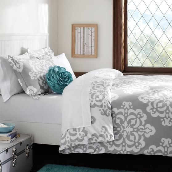 Ikat Medallion Duvet Cover + Sham, Light Grey | this design is both reversible & avail in a variety of color ranges that would work well 4 u if u like it ~