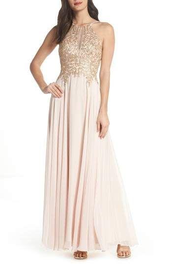 a90520f84217 Xscape Embroidered Chiffon Halter Dress...dress...