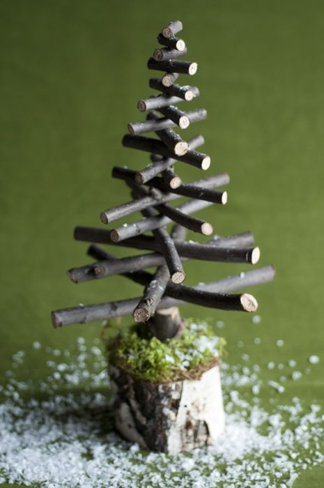 DIY Christmas tree 1- first put nail some branches onto a strong base.