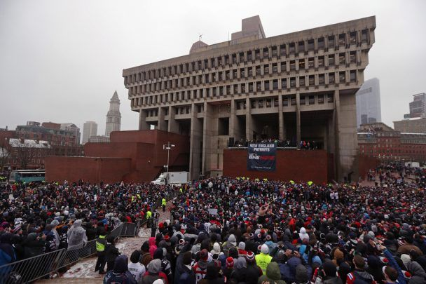 To top of the parade, everyone gathered at City Hall to hear Tom Brady, Bill Belichick, Robert Kraft and others speak. This was definitely a day to remember