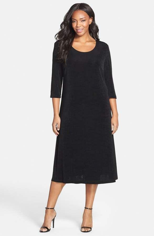 Vikki Vi Three-Quarter Sleeve Stretch Knit A-Line Dress   Women\'s ...