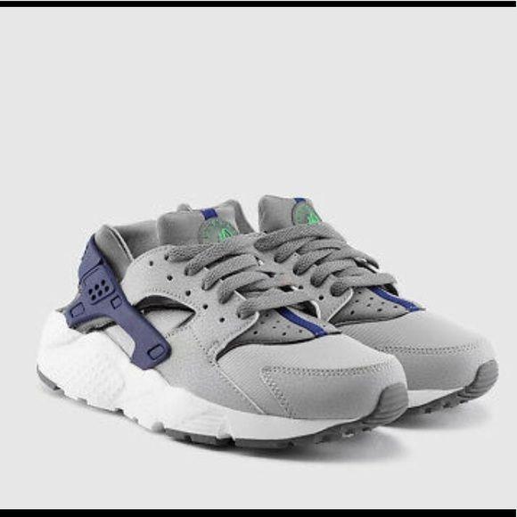 Nike Huarache Run Grey&Blue Boys   Huarache run, Nike huarache ...