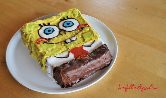 Spongebobtorte mit viel Schokolade