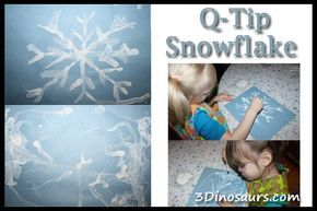 Q-Tip Snowflakes - some great fine motor - 3Dinosaurs.com