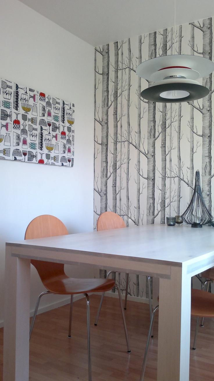 Marimekko 'Kippis' fabric as a board, Cole wallpaper and wooden handmade dinnertable
