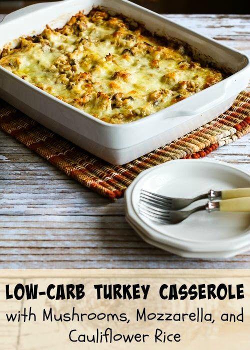 Low-Carb Turkey Casserole with Mushrooms, Mozzarella, and Cauliflower Rice (Gluten-Free) found on KalynsKitchen.com