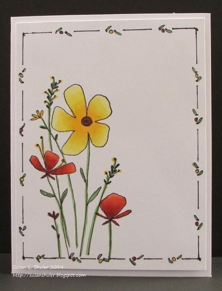 Doodle Frame Floral in Red and Yellow by Auntie Su…