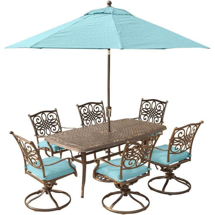 hanover traditions 7piece dining set in blue with 72 x 38 in cast