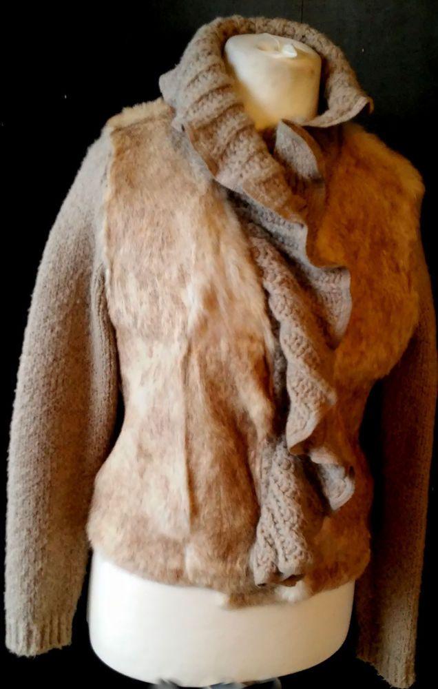 @tumblr zara women 100%rabbit fur ,wool blend kardigan size usa L #ZARA #Cardigan