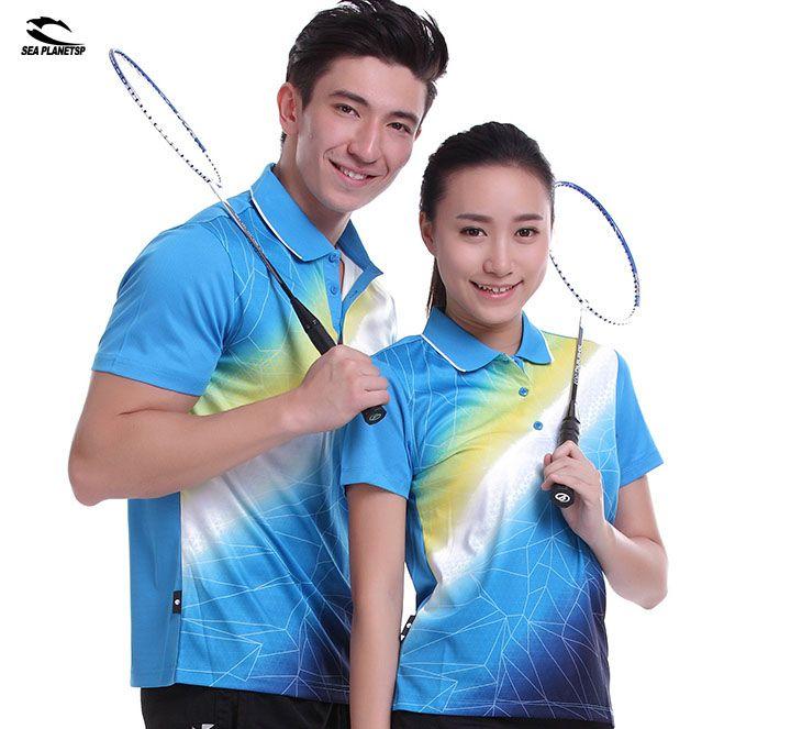 SEA PLANETSP Sportswear sweat Quick Dry breathable badminton shirt , Women / Men table tennis clothes team game blue T Shirts