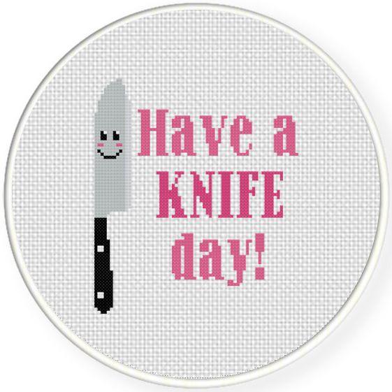FREE Have A Knife Day Cross Stitch Pattern