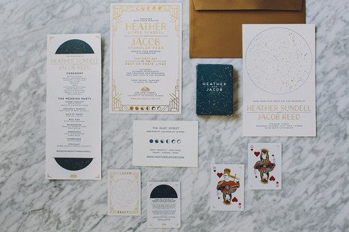Celestial Lunar Themed Signage and custom playing card favors, Art & Soul Events, Mandee Johnson Photography