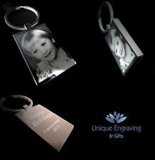 Metal Personalised Photo Engraved Rectangle Keyring - FREE UK POSTAGE Ideal Gift