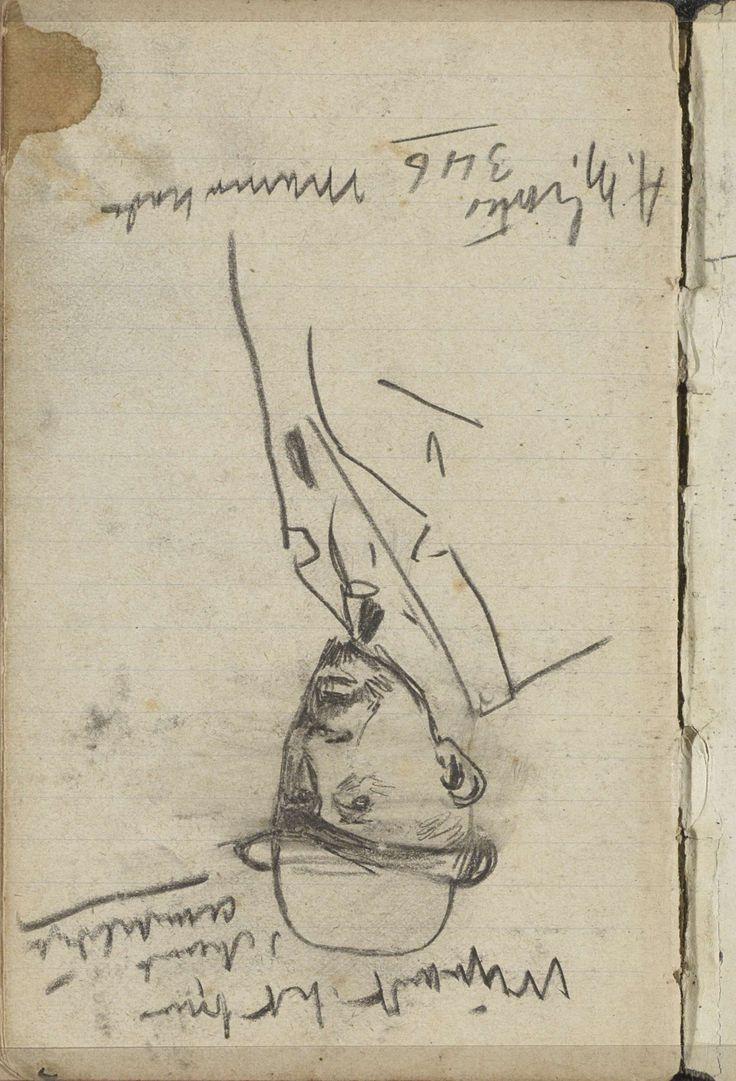 George Hendrik Breitner | Portret van een onbekende man, George Hendrik Breitner, c. 1886 - c. 1903 | Mogelijk de kunstenaar A.M. Gorter. Pagina 81 uit een schetsboek met 41 bladen.