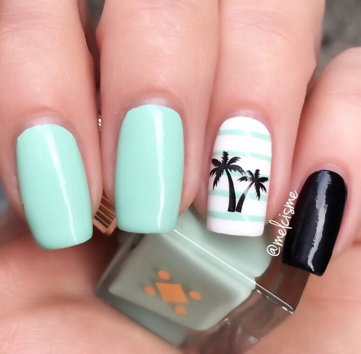 "Beautiful Mint by Miami Deco - ""Petite Palm""   #mint #mintnails #palmtree #palmtreenails"