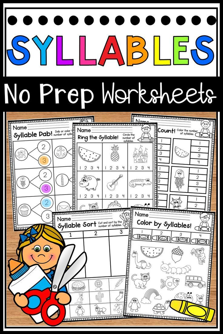 Syllables Worksheets Syllable Counting Worksheets In 2020 Syllable Worksheet Syllable Learning Worksheets