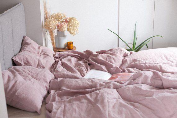 Linen Duvet Cover In Dusty Rose Pink Stonewashed Linen Etsy Linen Duvet Covers Fall Bedding Linen Duvet