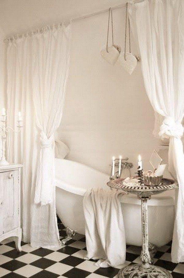 White Shabby Chic Bathroom with a Bird Bath as Bathroom Tub Table. 10 Best ideas about Chic Bathrooms on Pinterest   Shabby chic
