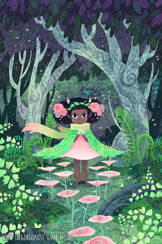 Maiden Hair Nymph by theGorgonist #illustration #character #characterdesign #girl #cute #forest #fairytale #magical #art