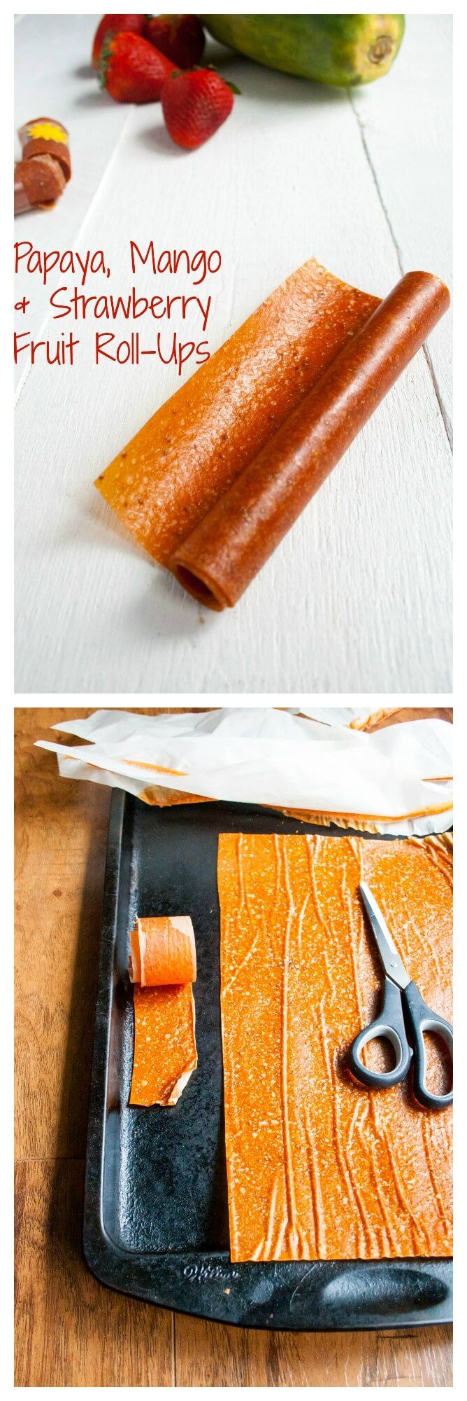 Delicious homemade fruit roll-ups made with papaya, mango and strawberry. It's a fantastic fruit combination, and so healthy! Your kids will love them.