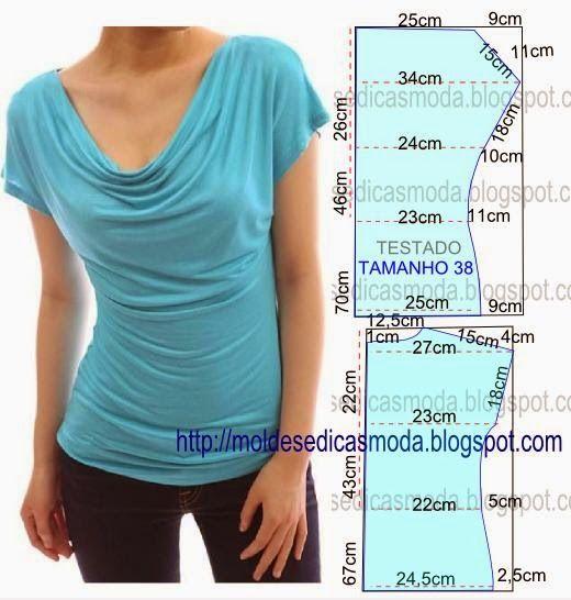 O molde de blusa encontra-se no tamanho 38. Nota: A ilustração do molde blusa não tem valor de costura. PASSO A PASSO MOLDE DE BLUSA Corte um retângulo de