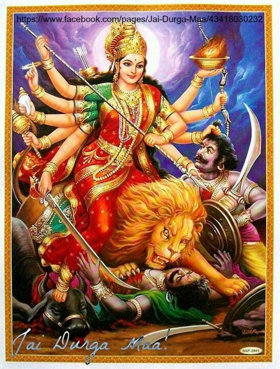 Goddess Parvati's  Ambika roop. She rides the lion and kills the asuras. She has the power of all deitiies thus the many hands and the different weapons. She is Shakti which means power. All deities are the various forms of this power and portrayed to common man as different deities in order to capture their concentration by seeing a form not very different from what they know. It would be difficult to pray to a power that cannot be seen.