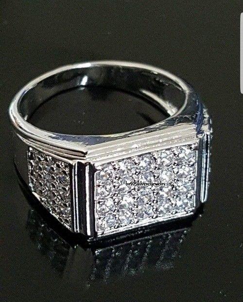1.50 CARAT MENS 14k WHITE GOLD FINISH PAVE DIAMOND ENGAGEMENT WEDDING PINKY RING #br925silverczjewelry #MensWeddingRing #WeddingEngagementAnniversaryBirthdayGift