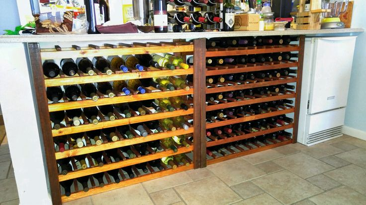 124 bottle wine rack in 2 pieces...accommodates all size bottles except magnums.